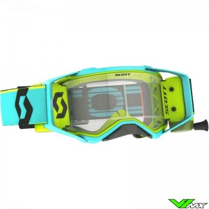 Scott Prospect WFS Motocross Goggle with Roll-off - Teal / Yellow
