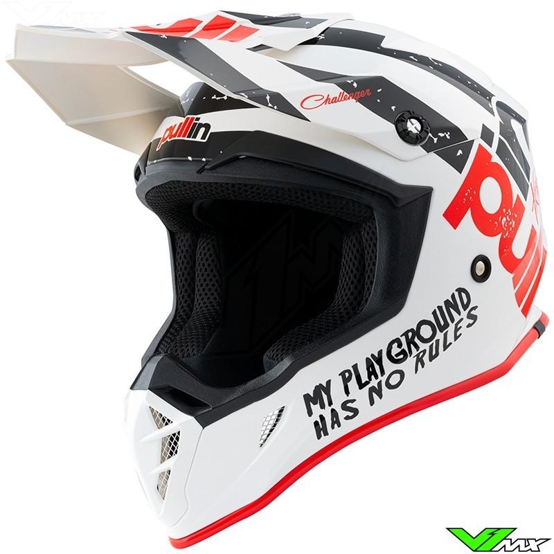 Pull In Trash Motocross Helmet - White / Red (L , 59-60cm)