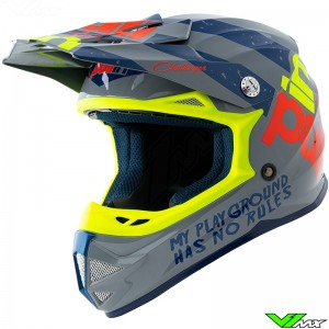 Pull In Trash Youth Motocross Helmet - Grey / Fluo Yellow