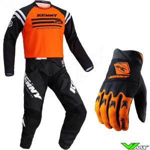 Kenny Track Raw 2021 Youth Motocross Gear Combo - Fluo Orange