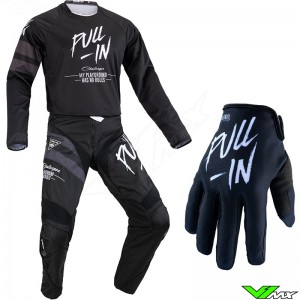 Pull In Challenger Solid 2021 Youth Motocross Gear Combo - Black