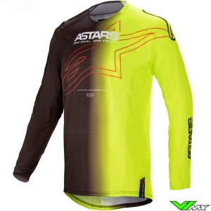 Alpinestars Techstar Phantom 2021 Motocross Jersey - Black / Fluo Yellow