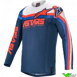 Alpinestars Techstar Venom 2021 Motocross Jersey - Dark Blue / Bright Red / White