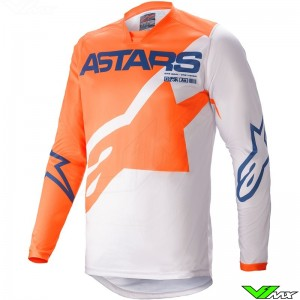 Alpinestars Racer Braap 2021 Motocross Jersey - Orange / Light Grey / Dark Blue