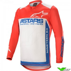Alpinestars Racer Supermatic 2021 Motocross Jersey - Bright Red / Blue / White