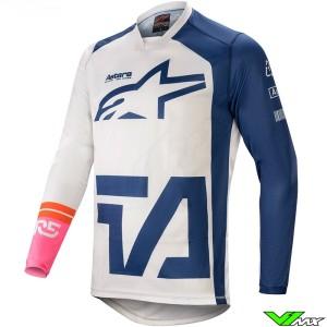 Alpinestars Racer Compass 2021 Motocross Jersey - White / Navy / Fluo Pink