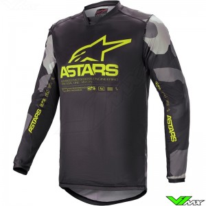 Alpinestars Racer Tactical 2021 Motocross Jersey - Grey / Camo / Fluo Yellow