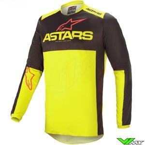 Alpinestars Fluid Tripple 2021 Motocross Jersey - Black / Fluo Yellow / Bright Red