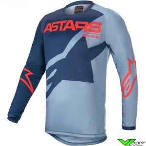 Alpinestars Racer Braap 2021 Kinder Cross shirt - Donker Blauw / Blauw / Fel Rood