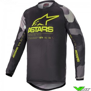 Alpinestars Racer Tactical 2021 Kinder Cross shirt - Grijs / Camo / Fluo Geel