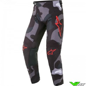 Alpinestars Racer Tactical 2021 Motocross Pants - Grey / Camo / Fluo Red