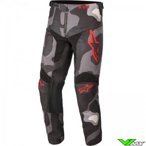 Alpinestars Racer Tactical 2021 Youth Motocross Pants - Grey / Camo / Fluo Red