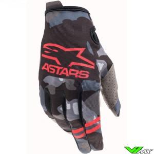 Alpinestars Radar 2021 Motocross Gloves - Grey / Camo / Fluo Red