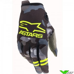 Alpinestars Radar 2021 Motocross Gloves - Grey / Camo / Fluo Yellow