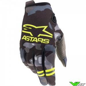 Alpinestars Radar 2021 Youth Motocross Gloves - Grey / Camo / Fluo Yellow
