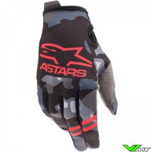 Alpinestars Radar 2021 Youth Motocross Gloves - Grey / Camo / Fluo Red