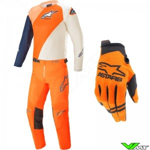 Alpinestars Racer Blaze 2021 Youth Motocross Gear Combo - Orange / Dark Blue