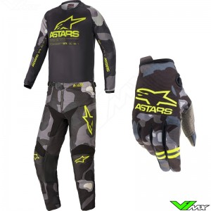 Alpinestars Racer Tactical 2021 Youth Motocross Gear Combo - Grey / Camo / Fluo Yellow