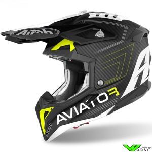 Airoh Aviator 3 Primal Carbon Motocross Helmet - Mat / Yellow