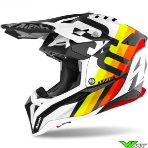 Airoh Aviator 3 Rainbow Motocross Helmet - White / Orange