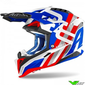 Airoh Aviator 3 Rainbow Motocross Helmet - Blue / Red