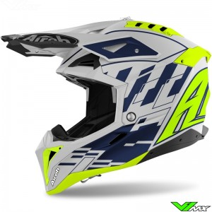 Airoh Aviator 3 Rampage Motocross Helmet - Blue / Fluo Yellow