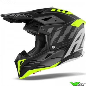 Airoh Aviator 3 Rampage Motocross Helmet - Grey / Black / Fluo Yellow
