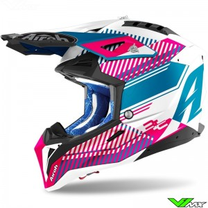 Airoh Aviator 3 Wave Motocross Helmet - Pink / Blue
