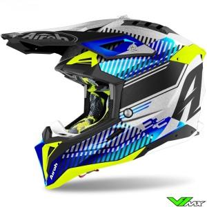 Airoh Aviator 3 Wave Motocross Helmet - Chrome Blue / Silver / Fluo Yellow
