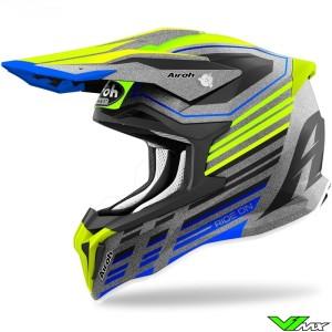 Airoh Striker Shaded Motocross Helmet - Fluo Yellow / Silver