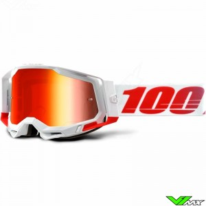 100% Racecraft 2 Stkith Motocross Goggle - Red Mirror Lens