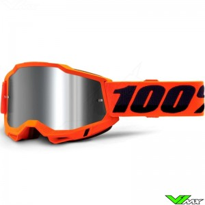 100% Accuri 2 Orange Motocross Goggle - Silver Mirror Lens