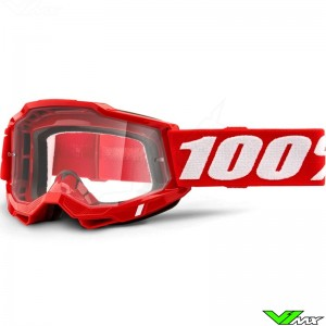 100% Accuri 2 Red Motocross Goggle - Clear Lens