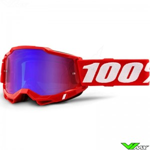 100% Accuri 2 Red Motocross Goggle - Red/Blue Mirror Lens