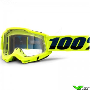 100% Accuri 2 Fluo Yellow Motocross Goggle - Clear Lens