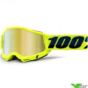 100% Accuri 2 Fluo Geel Crossbril - Goud spiegel lens