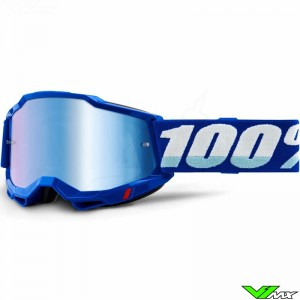 100% Accuri 2 Blue Motocross Goggle - Blue Mirror Lens