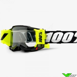 100% Accuri 2 Forecast Black Motocross Goggle with Roll-off