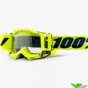 100% Accuri 2 Forecast Fluo Yellow Motocross Goggle with Roll-off