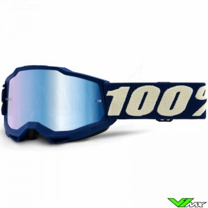 100% Accuri 2 Youth Deep Marine Youth Motocross Goggle - Blue Mirror Lens