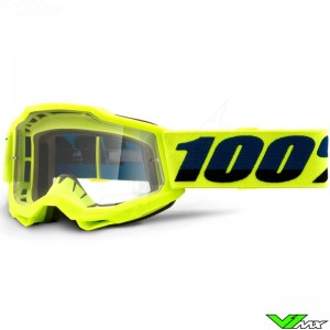 100% Accuri 2 Youth Fluo Yellow Youth Motocross Goggle - Clear Lens