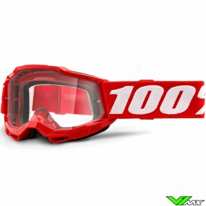100% Accuri 2 Youth Red Youth Motocross Goggle - Clear Lens