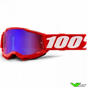 100% Accuri 2 Youth Red Youth Motocross Goggle - Red/Blue Mirror Lens