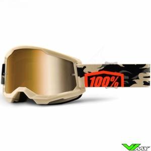 100% Strata 2 Kombat Crossbril - Donker goud spiegel lens