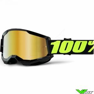 100% Strata 2 Upsol Crossbril - Goud spiegel lens