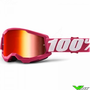 100% Strata 2 Fletcher Motocross Goggle - Red Mirror Lens