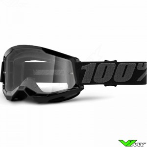 100% Strata 2 Black Motocross Goggle - Clear Lens