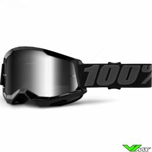 100% Strata 2 Zwart Crossbril - Zilver spiegel lens