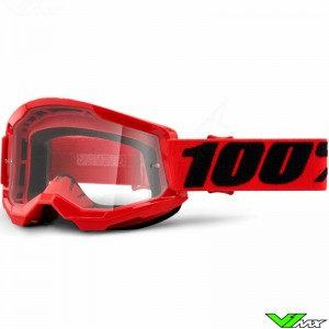 100% Strata 2 Red Motocross Goggle - Clear Lens