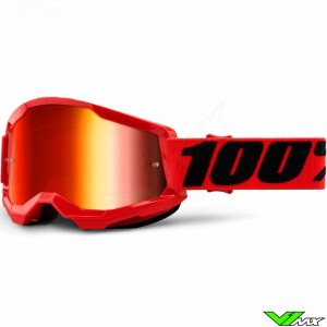 100% Strata 2 Red Motocross Goggle - Red Mirror Lens